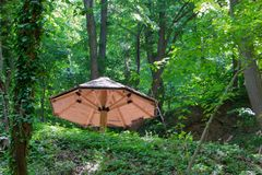 Ξύλινη ομπρέλα στο δάσος Στοκ εικόνα με δικαίωμα ελεύθερης χρήσης