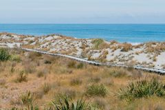 Ξύλινη πορεία πέρα από την παραλία άμμου με τον ωκεάνιο seacoast ορίζοντα Στοκ Φωτογραφία