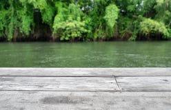 Ξύλινη σανίδα γκρίζα στη θολωμένη πράσινη ζούγκλα Στοκ Εικόνες