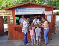 Ξύλινη σκηνή στο ετήσιο λαϊκό φεστιβάλ σε Eger, Ουγγαρία Στοκ φωτογραφίες με δικαίωμα ελεύθερης χρήσης