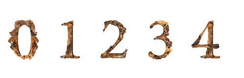 Ξύλινη σύσταση 0 1 2 3 4 αλφάβητου που απομονώνονται στο άσπρο backgroud Στοκ Φωτογραφίες