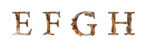 Ξύλινη σύσταση Ε Φ Γ Χ αλφάβητου που απομονώνεται στο άσπρο backgroud Στοκ Εικόνες