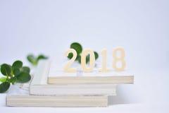Ξύλινοι αριθμοί 2018 στα βιβλία Στοκ Εικόνες