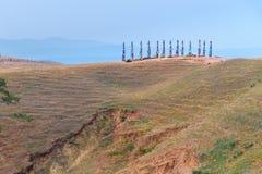 Ξύλινοι τελετουργικοί στυλοβάτες με τις ζωηρόχρωμες κορδέλλες Hadak στο ακρωτήριο Burkhan baikal λίμνη baikal λίμνη olkhon Ρωσία  Στοκ εικόνα με δικαίωμα ελεύθερης χρήσης