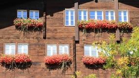 Ξύλινοι τοίχοι και παράθυρα με τα ανθίζοντας γεράνια Στοκ Εικόνες