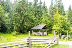 Ξύλινος άξονας κοντά στο δάσος Στοκ Φωτογραφίες