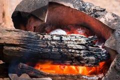 Ξύλινος καίγοντας ξυλάνθρακας στην παλαιά σόμπα για να θερμάνει το σώμα το χειμώνα , Στοκ εικόνα με δικαίωμα ελεύθερης χρήσης