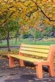 Ξύλινος πάγκος στο πάρκο πόλεων το φθινόπωρο Στοκ εικόνα με δικαίωμα ελεύθερης χρήσης