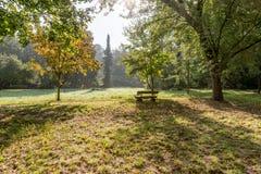 Ξύλινος πάγκος στο πάρκο φθινοπώρου Στοκ εικόνες με δικαίωμα ελεύθερης χρήσης