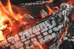 Ξύλινος συνδέεται μια πυρά προσκόπων με τον καπνό και τη φλόγα Στοκ Φωτογραφίες