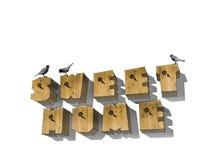Ξύλινο ΓΛΥΚΟ ΣΠΙΤΙ λέξης επιστολών birdhouse στο άσπρο υπόβαθρο Ξύλινο αλφάβητο, λέξεις στοκ εικόνα με δικαίωμα ελεύθερης χρήσης