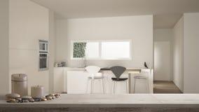 Ξύλινο εκλεκτής ποιότητας επιτραπέζια κορυφή ή ράφι με τα κεριά και τα χαλίκια, zen διάθεση, πέρα από τη σύγχρονη άσπρη και ξύλιν απεικόνιση αποθεμάτων