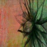Ξύλινο ζωηρόχρωμο σκηνικό σχεδίων σκίτσων της Daisy μελανιού Floral Στοκ Εικόνες