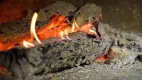 Ξύλινο κάψιμο στην εστία στη σε αργή κίνηση κινηματογράφηση σε πρώτο πλάνο απόθεμα βίντεο