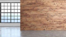 Ξύλινο κενό εσωτερικό δωματίων σοφιτών με το τσιμεντένιο πάτωμα, παράθυρο και brickwall Στοκ φωτογραφία με δικαίωμα ελεύθερης χρήσης