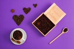 Ξύλινο κουτάλι κιβωτίων καρδιών anis κανέλας σπόρων φλιτζανιών του καφέ Στοκ εικόνες με δικαίωμα ελεύθερης χρήσης