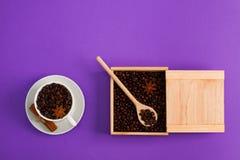 Ξύλινο κουτάλι κιβωτίων anis κανέλας σπόρων φλιτζανιών του καφέ Στοκ Εικόνα
