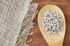 Ξύλινο κουτάλι με τους ξεφλουδισμένους σπόρους ηλίανθων με την πετσέτα λινού στοκ εικόνα με δικαίωμα ελεύθερης χρήσης