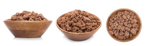 Ξύλινο κύπελλο μπαμπού με τα οργανικά δημητριακά granola στοκ φωτογραφία με δικαίωμα ελεύθερης χρήσης