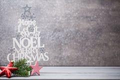 Ξύλινο ντεκόρ Χριστουγέννων Χριστούγεννα συμβόλων χαιρετισμός καλή χρονιά καρτών του 2007 Στοκ φωτογραφία με δικαίωμα ελεύθερης χρήσης