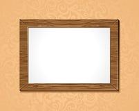 ξύλινο πλαίσιο με την άσπρη ανασκόπηση διανυσματική απεικόνιση