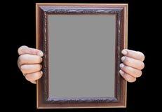 Ξύλινο πλαίσιο φωτογραφιών στο μαύρο άσπρο υπόβαθρο Στοκ Εικόνα