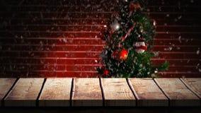 Ξύλινο πρώτο πλάνο με το υπόβαθρο Χριστουγέννων του δέντρου και του χιονιού διανυσματική απεικόνιση