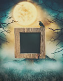 Ξύλινο σημάδι στο σκοτεινό τοπίο με το απόκοσμο φεγγάρι Σχέδιο αποκριών Στοκ Εικόνα