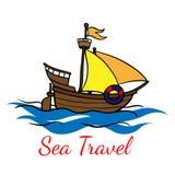 Ξύλινο σκάφος κινούμενων σχεδίων doodle Ταξίδι θάλασσας r στοκ εικόνα