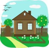 Ξύλινο σπίτι με ένα δέντρο της Apple και έναν μπροστινό κήπο απεικόνιση αποθεμάτων