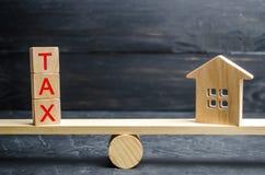 Ξύλινο σπίτι με το φόρο ` επιγραφής ` στις κλίμακες Φόροι στην ακίνητη περιουσία, πληρωμή Ποινική ρήτρα, καθυστερούμενα Κατάλογος στοκ εικόνες