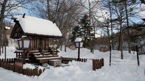 Ξύλινο σπίτι στην ακτή της λίμνης Toya στο Hokkaido, Ιαπωνία το χειμώνα στοκ φωτογραφίες