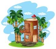 Ξύλινο σπίτι Enchanted στη φύση ελεύθερη απεικόνιση δικαιώματος