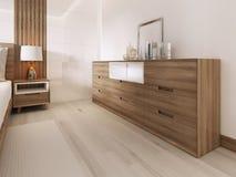 Ξύλινο στήθος των συρταριών με μια θέση σε μια Σκανδιναβική κρεβατοκάμαρα διανυσματική απεικόνιση