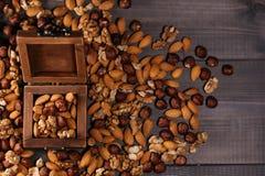 Ξύλινο σύνολο κιβωτίων των καρυδιών Μίγμα των φουντουκιών, των ξύλων καρυδιάς και των αμυγδάλων Στοκ εικόνα με δικαίωμα ελεύθερης χρήσης