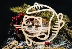 Ξύλινο σύνολο Χριστουγέννων ντεκόρ γατών Στοκ Εικόνα