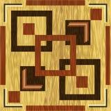 Ξύλινο τετραγωνικό inlay, σκοτεινά ξύλινα σχέδια στο ελαφρύ υπόβαθρο Ξύλινο πρότυπο διακοσμήσεων τέχνης Κατασκευασμένος γεωμετρικ Στοκ Εικόνες