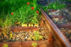 Ξύλινο τραίνο παιχνιδιών στις πραγματικές διαδρομές σιδηροδρόμων Στοκ Εικόνες