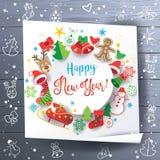 Ξύλινο υπόβαθρο ευχετήριων καρτών Χριστουγέννων διακοπών Στοκ Φωτογραφία