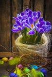 Ξύλινο φτερό λουλουδιών άνοιξη κρόκων καρτών καλαθιών αυγών Πάσχας τέχνης Στοκ Φωτογραφίες