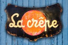Ξύλινο logo board LE crêpe στοκ εικόνες με δικαίωμα ελεύθερης χρήσης