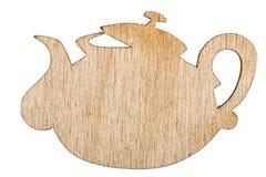 Ξύλινο teapot, διακοσμητικό στοιχείο σχεδίου, που απομονώνεται στην άσπρη πλάτη Στοκ εικόνες με δικαίωμα ελεύθερης χρήσης