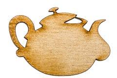 Ξύλινο teapot, διακοσμητικό στοιχείο σχεδίου, που απομονώνεται στην άσπρη πλάτη Στοκ φωτογραφία με δικαίωμα ελεύθερης χρήσης