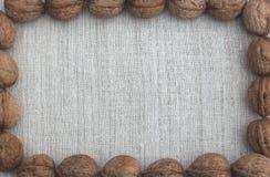 Ξύλα καρυδιάς στο υπόβαθρο λινού Στοκ Εικόνα