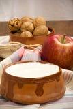 Ξύλα καρυδιάς, Apple και γιαούρτι Στοκ φωτογραφία με δικαίωμα ελεύθερης χρήσης