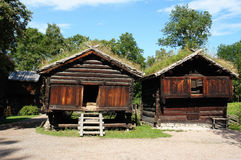 Ξύλινα εθνικά σπίτια στο Όσλο Στοκ Εικόνα