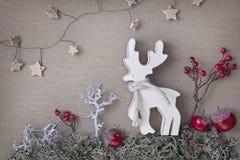 Ξύλινα ελάφια Χριστουγέννων Στοκ Εικόνα