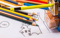 Ξύλινα ζωηρόχρωμα μολύβια Στοκ Φωτογραφία