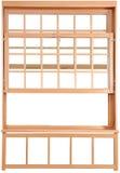 Ξύλινα διπλά κρεμασμένα παράθυρα. Διπλός-κρεμασμένα μέρη παραθύρων. Στοκ Εικόνες