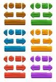 Ξύλινα κουμπιά κινούμενων σχεδίων για το σχέδιο παιχνιδιών ή Ιστού Στοκ Εικόνες